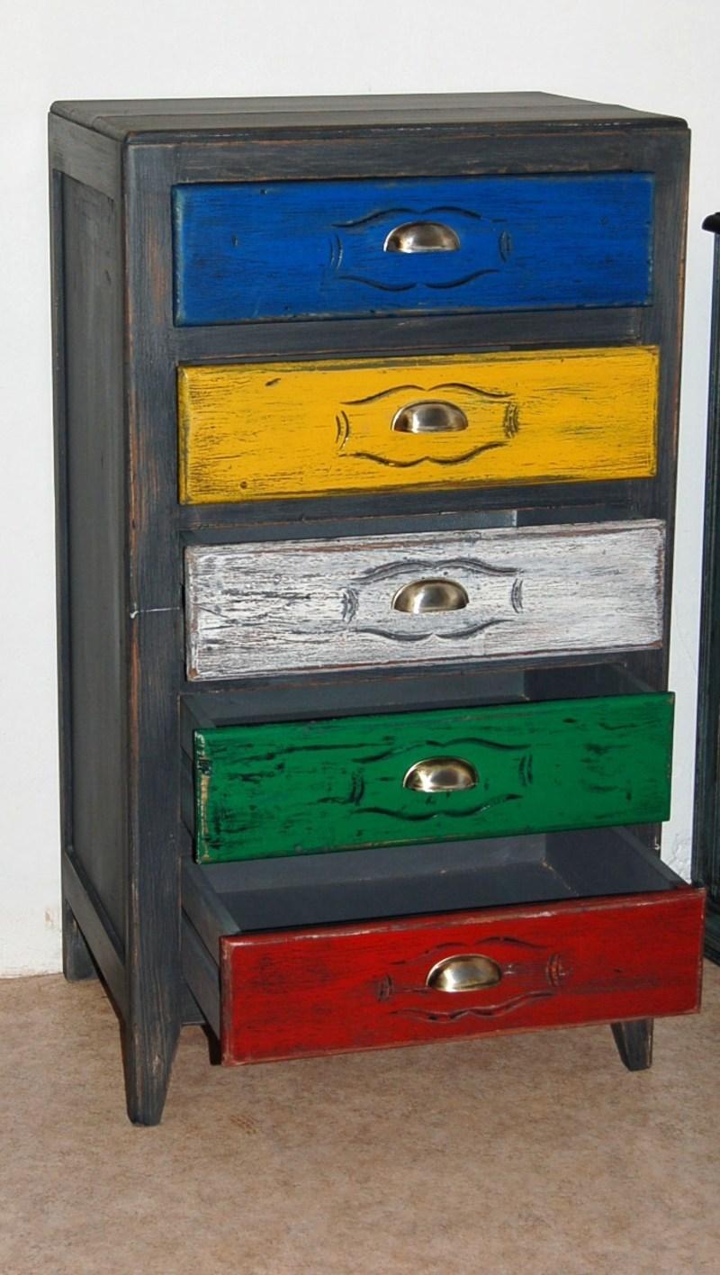 chiffonnier multicolore vintage patin. Black Bedroom Furniture Sets. Home Design Ideas