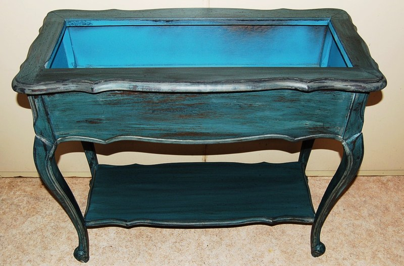 jardini re patin e bleu antique vieilli 150 euros meuble bleu vieilli. Black Bedroom Furniture Sets. Home Design Ideas