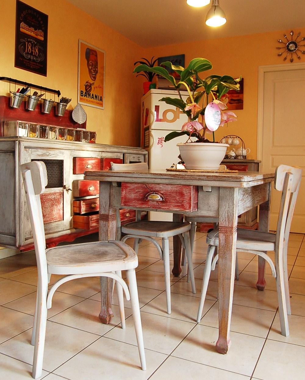 Table et chaises bistrot ann e 30 for Meuble cuisine bistrot